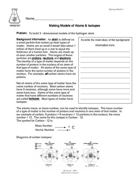 Making Models Of Atoms And Isotopes Lesson Plan For Th Th Free