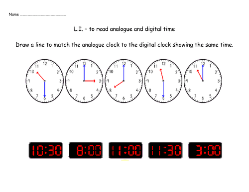 Matching Analogue And Digital Clocks