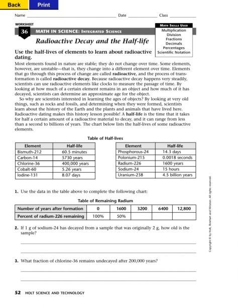 Math In Science Integrated Science Worksheet