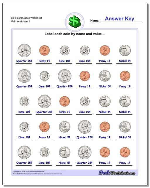 Money Coin Worksheets First Grade Identification V Ordering