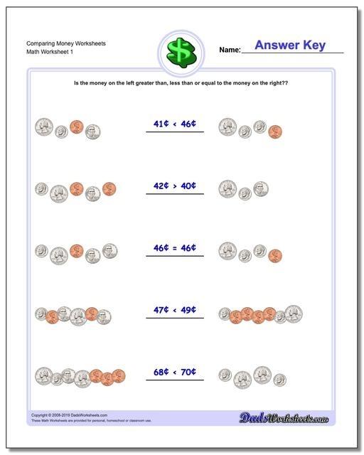 Money St Grade Worksheets Comparing Coins V Free Printable