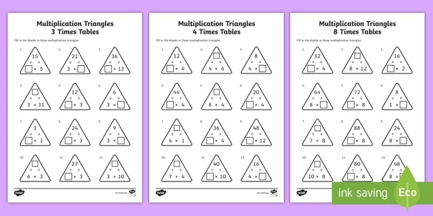 Multiplication Triangles    And  Times Tables Activity Sheets