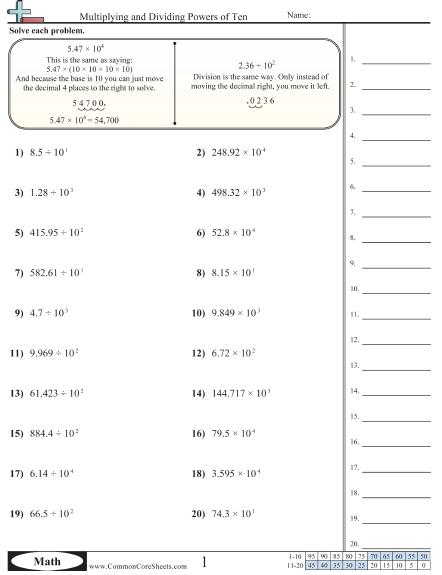 Multiplying And Dividing Powers Of Ten Worksheet