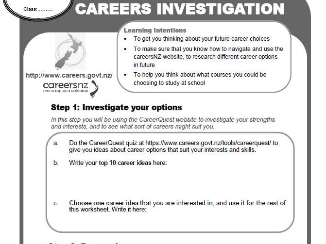 Nz Careers Research Worksheet
