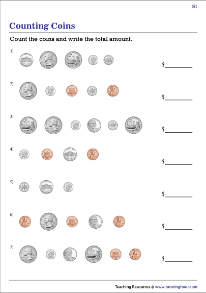 Penny  Nickel  Dime  And Quarter Worksheets