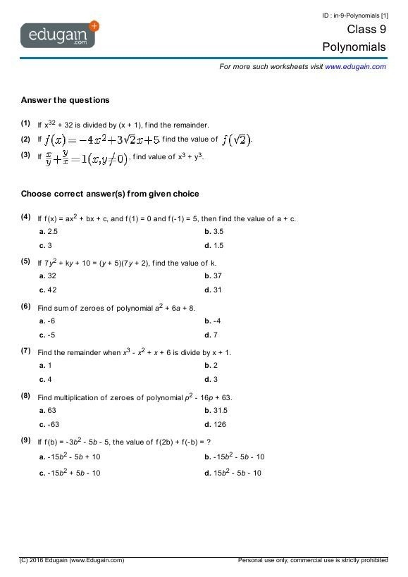 Polynomials Worksheet In Math Grade Worksheets With Answers