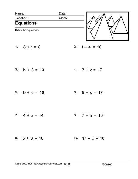 Pre Algebra Equations Worksheet For Rd Th Grade Lesson Planet