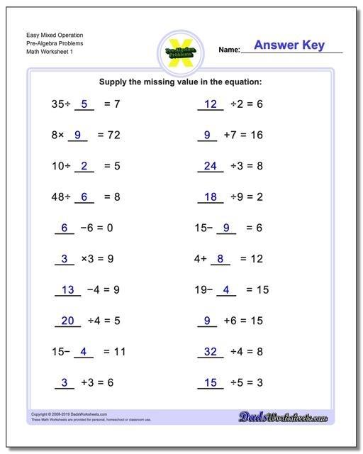 Pre Algebra Problems Th Grade Math Worksheets Mixed All
