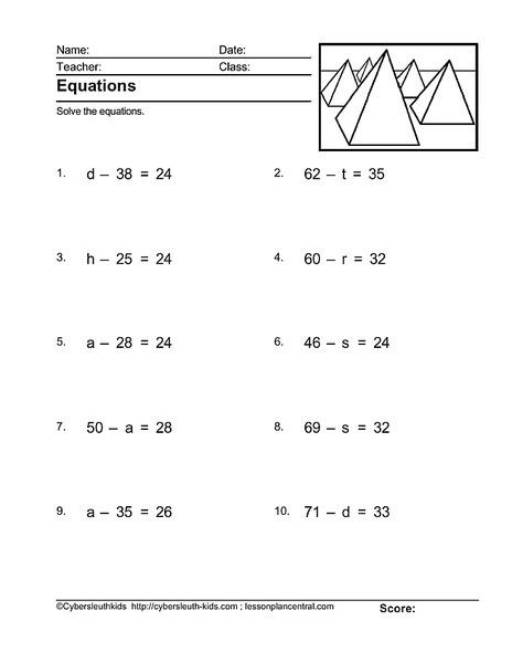 Pre Algebra Worksheet For Th Th Grade Lesson Planet Math