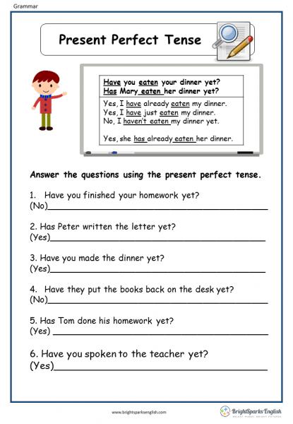 Present Perfect Tense English Grammar Worksheet  English Treasure