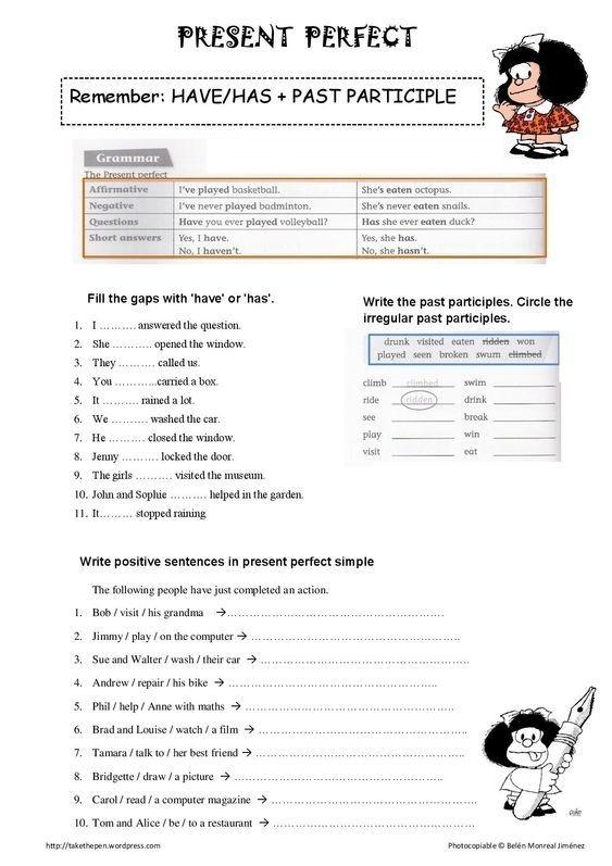 Present Perfect Tense Printable Worksheet