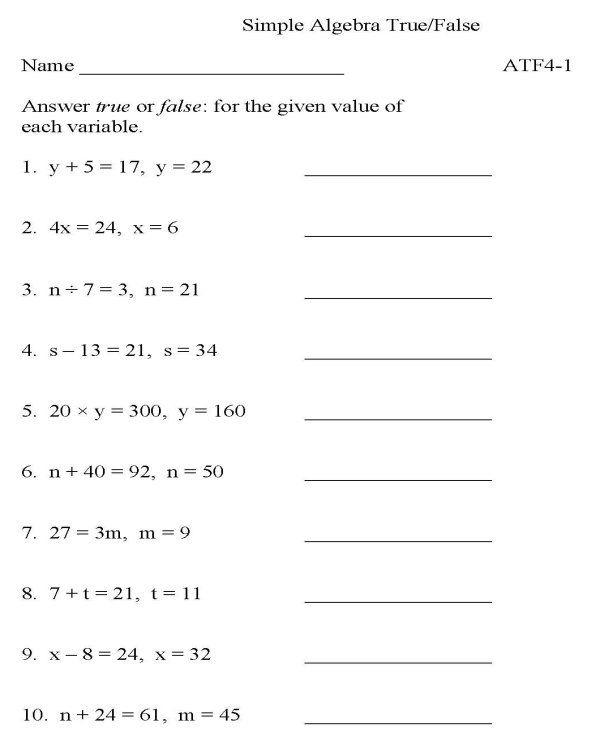 Printable Algebra Worksheet Math Skills Practice Sheet Grade