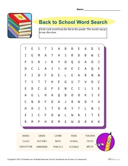 Printable Back To School Word Search Activity Homework Worksheets