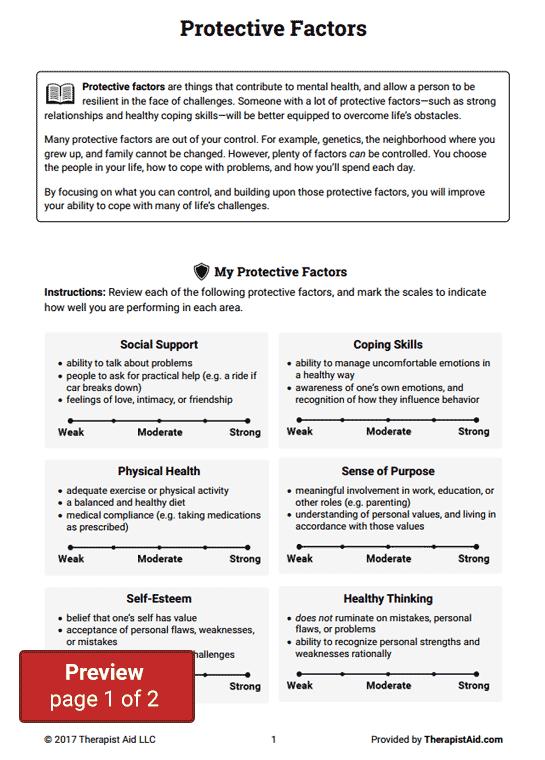 Protective Factors Worksheet