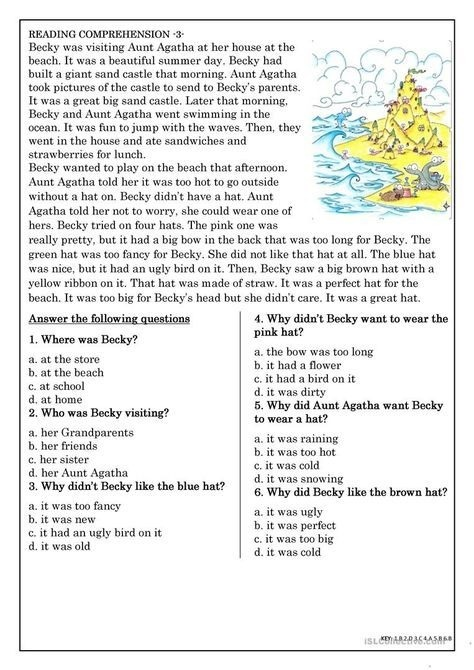 Reading Comprehension For Beginner And Elementary Students