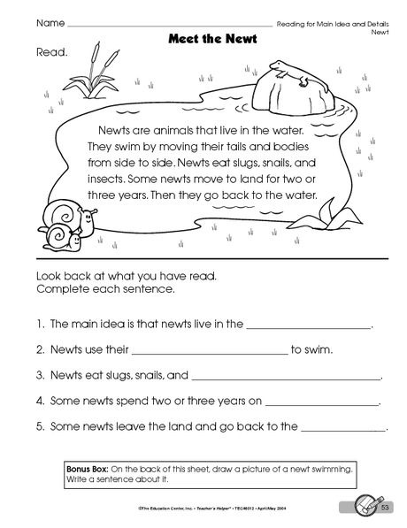 Reading Worksheet Main Idea And Details