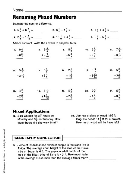 Renaming Mixed Numbers Worksheet For Th Grade Lesson Planet