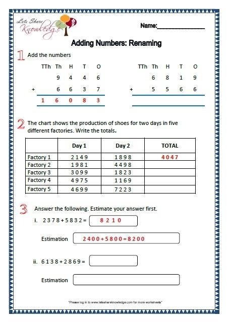 Renaming Numbers Grade  Worksheets Worksheets Th Grade Christmas