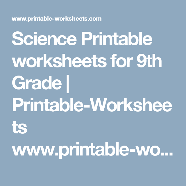 Science Printable Worksheets For Th Grade