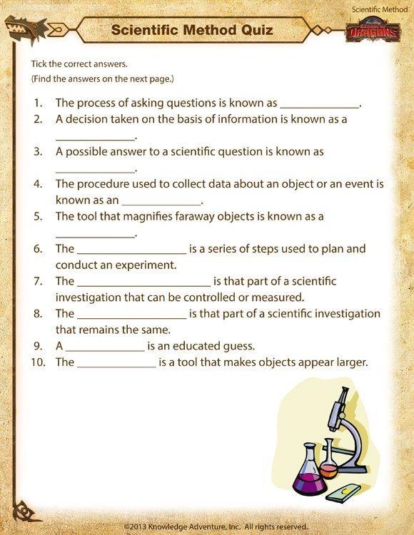 Scientific Method Quiz Printable Worksheets Science Process Skills
