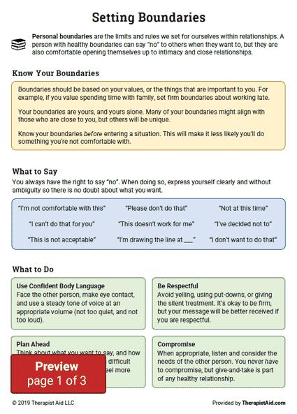 Setting Boundaries Info And Practice Worksheet