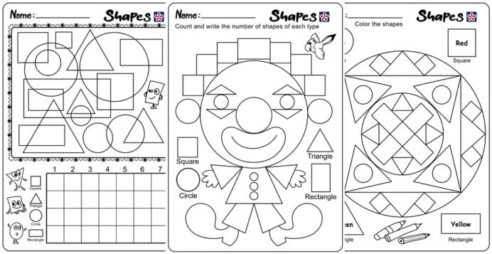 Shapes And Colors Worksheets For Kindergarten Students Fun Games