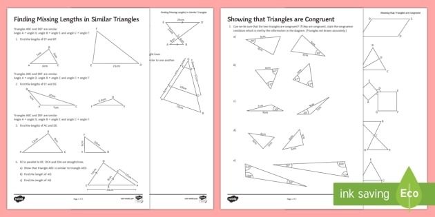 Similarity And Congruence Worksheets