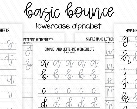 Simple Beginner Hand Lettering Practice Sheets Lowercase