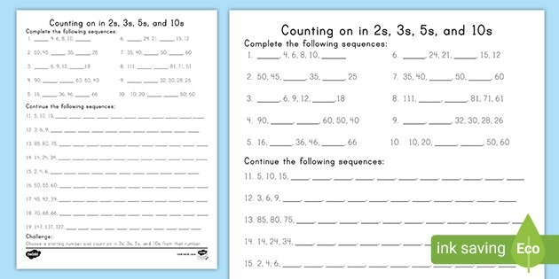 Skip Counting In Twos  Threes  Fives  And Tens Activity