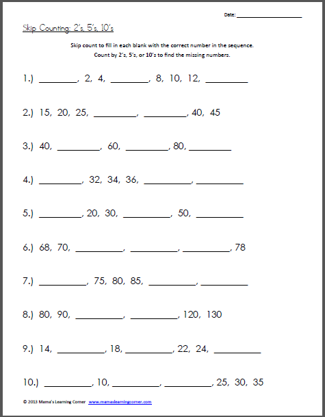 Skip Counting Worksheet S  S  S