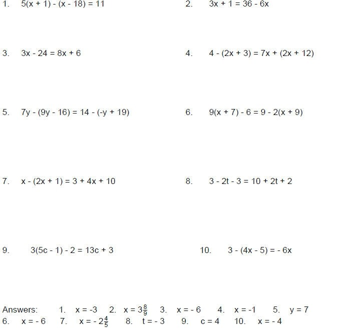 Solving Single Variable Equations