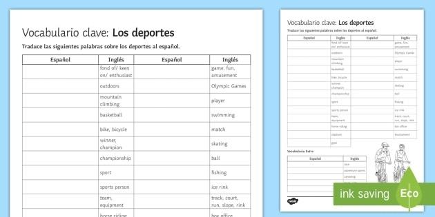 Sports Vocabulary English To Spanish Translation Worksheet  Worksheet