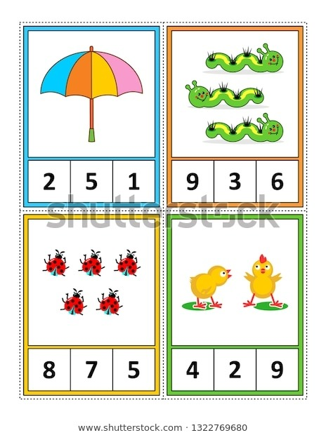 Spring Season Themed Counting   Stock Vector Royalty Free