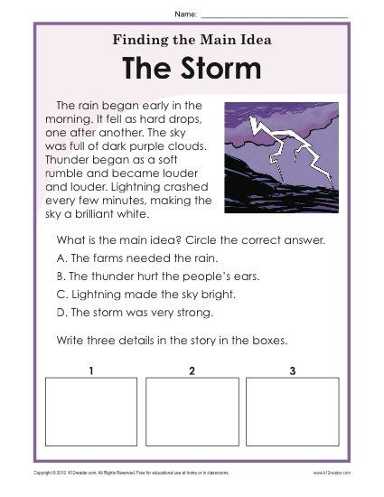 St Or Nd Grade Main Idea Worksheet About Storms