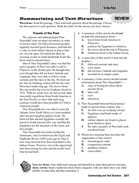 Summarizing And Text Structure Worksheet For Th Th Grade