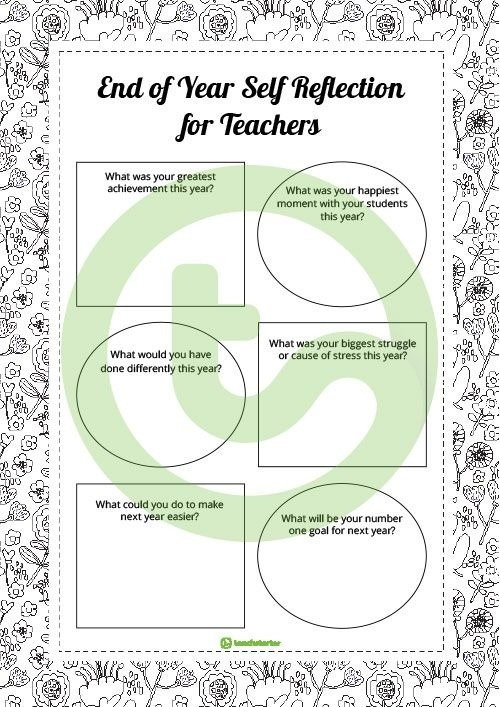 Teaching Resource A Self Reflection Worksheet For Teachers To Use