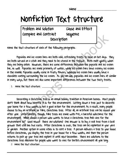 Text Structure Worksheet Answers Ereading Worksheets Shapes Grade