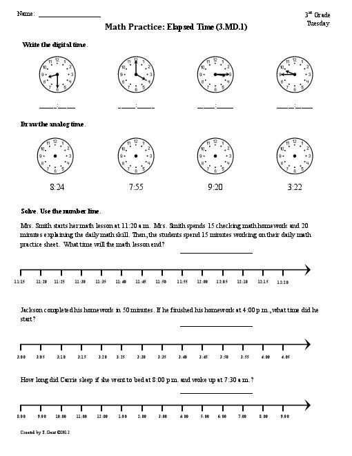 Th Grade Elapsed Time Worksheets