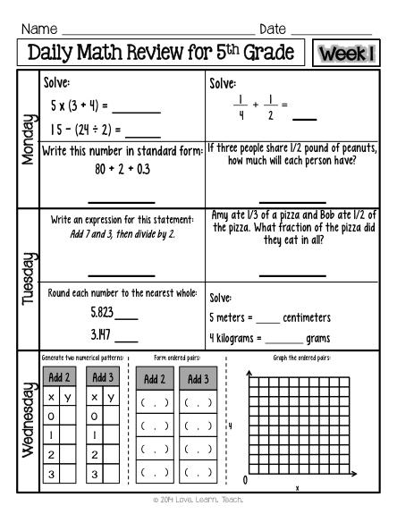Th Grade Math Spiral Review Morning Work One Week Free
