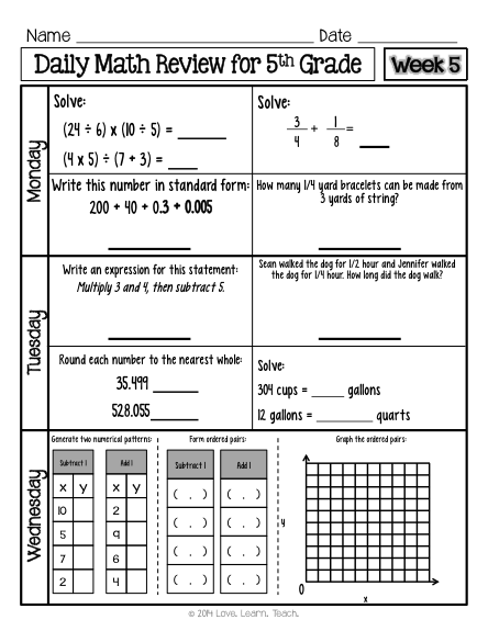 Th Grade Math Spiral Review Morning Work Set   Weeks