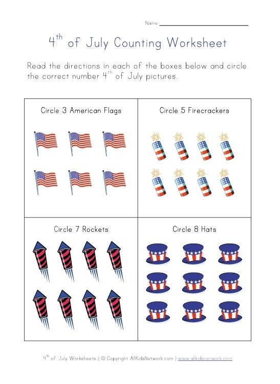Th Of July Worksheets For Kids