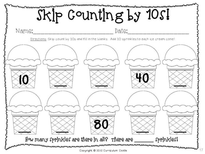 Th Of School Thematic Unit Days Skip Counting By Worksheets