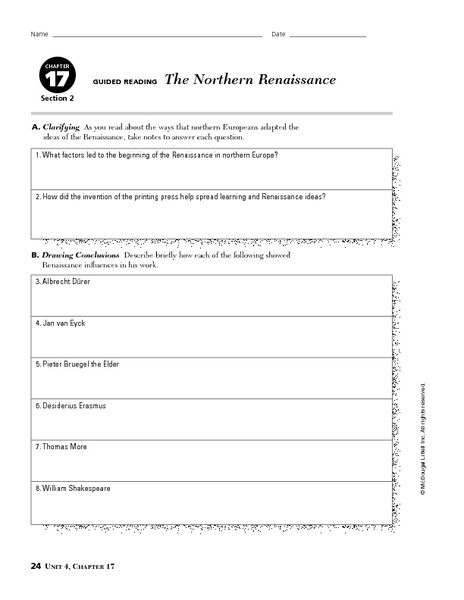 The Northern Renaissance Worksheet