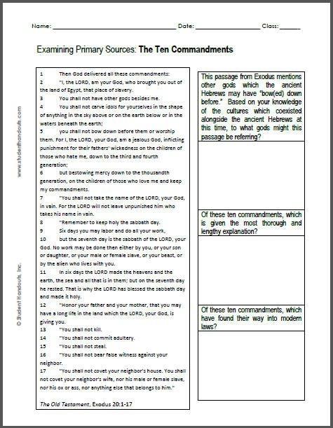 The Ten Commandments Dbq Worksheet