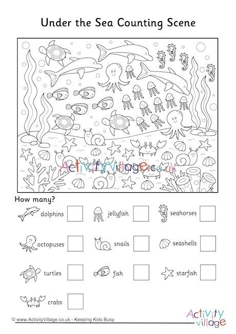 Under The Sea Counting Scene Worksheet Worksheets Printables
