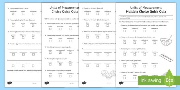 Units Of Measurement Multiple Choice Quick Quiz Worksheet  Worksheet