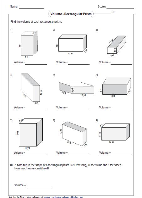 Volume Word Problems Th Grade Worksheet