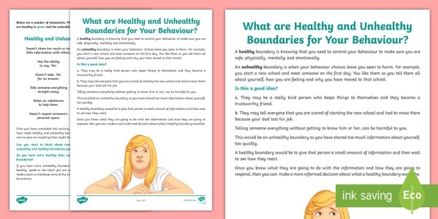 What Are Healthy And Unhealthy Boundaries Worksheet