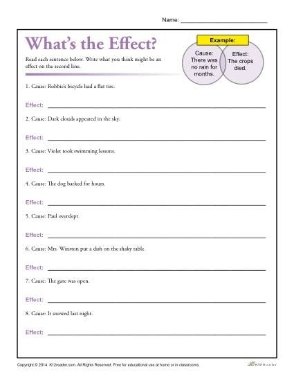 Whats The Effect Printable Cause And Effect Worksheet