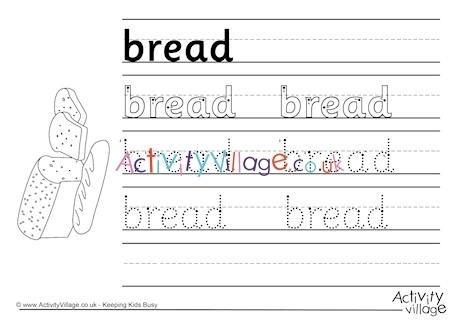 Worksheet  Bread Handwriting Worksheet
